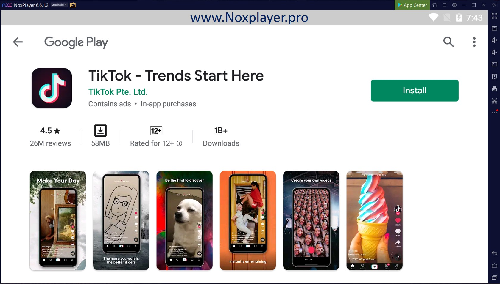 Tiktok for PC with NoxPlayer